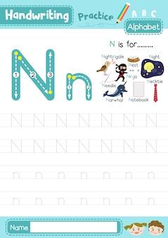 Letter n hoofdletters en kleine letters oefenen werkblad