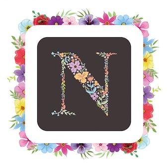 Letter n initiaal met florale vector