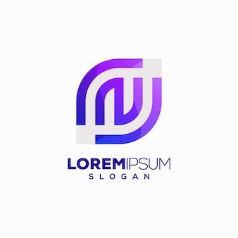 Letter n kleurrijk logo