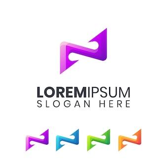 Letter n kleurrijke logo sjabloon