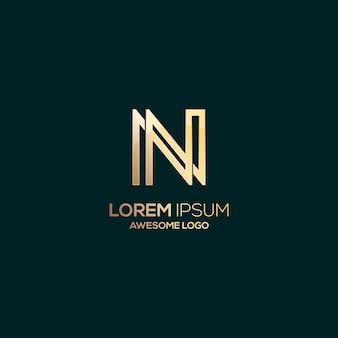Letter n logo luxe gouden kleur illustratie
