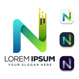Letter n logo ontwerp geïsoleerd op wit