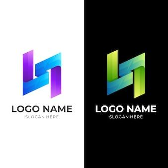 Letter n-logo, sjabloon met 3d-kleurrijke stijl