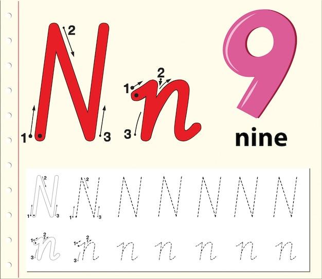 Letter n tracing alfabet werkbladen