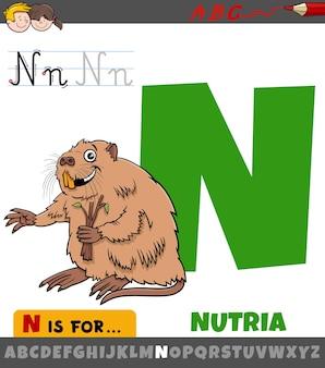 Letter n uit het alfabet met het dierlijke karakter van nutria