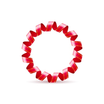 Letter o gemaakt van rood gekruld glanzend lint