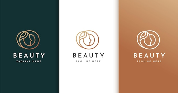 Letter o-logo-ontwerp met het gezicht van de vrouw