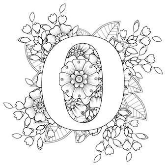 Letter o met mehndi bloem decoratief ornament in etnische oosterse stijl kleurboekpagina