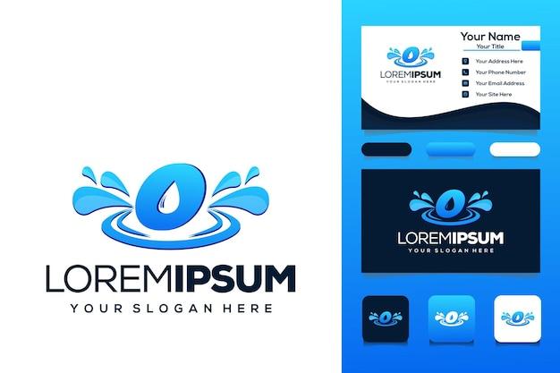 Letter o met waterdruppel logo ontwerp bus visitekaartje
