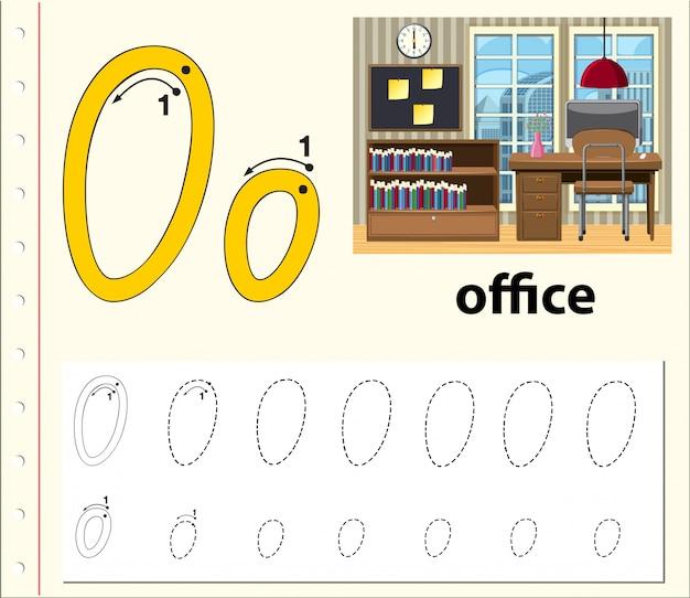 Letter o tracing alfabet werkbladen