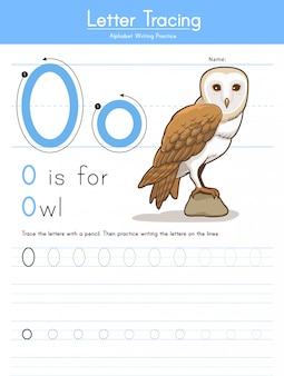 Letter o tracing animal alphabet o voor owl