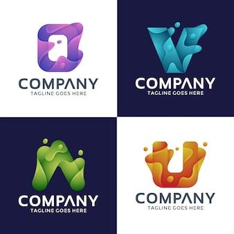 Letter o, v, a, u-logo ontwerp met 3d-stijl.