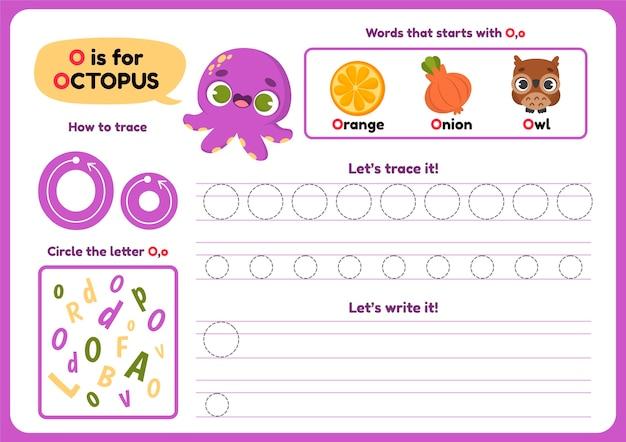 Letter o-werkblad met octopus