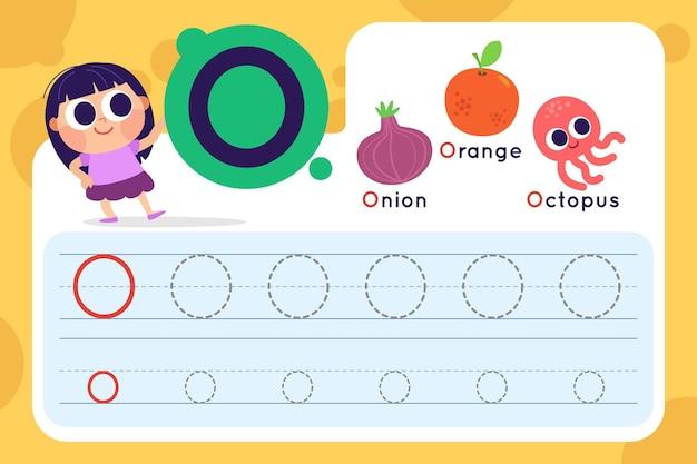 Letter o-werkblad met ui en sinaasappel