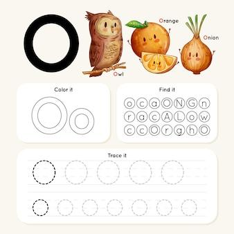 Letter o-werkblad met uil, sinaasappel, ui