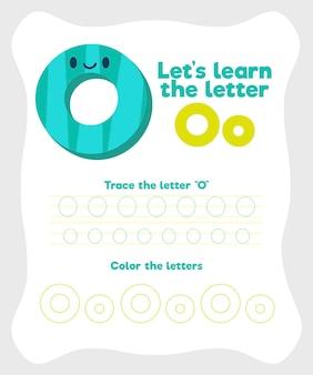 Letter o-werkbladsjabloon