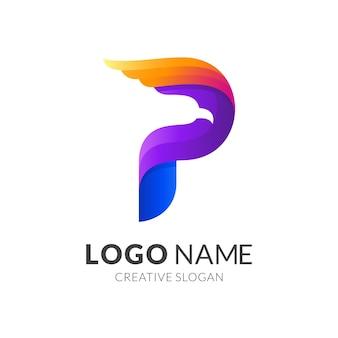 Letter p eagle-logo, letter p en eagle, combinatie logo met kleurrijk