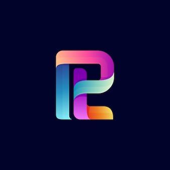 Letter p en letter t monogram logo