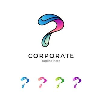 Letter p en water logo geïsoleerd op wit