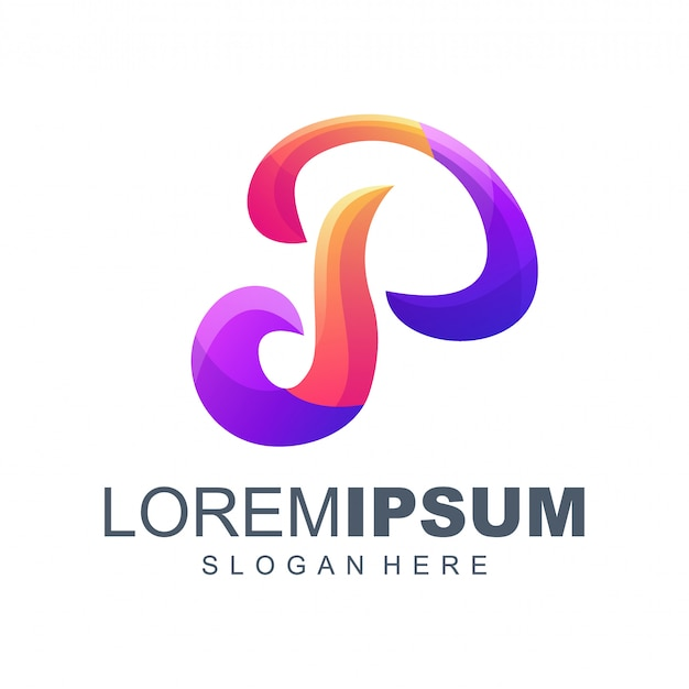Letter p gradiënt logo ontwerp