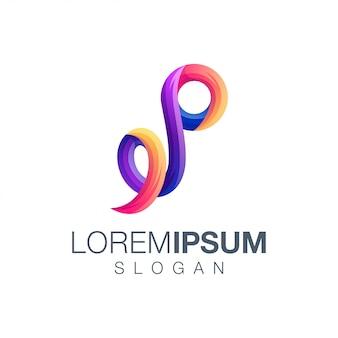 Letter p gradiëntkleur logo