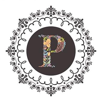 Letter p initial met florale vector