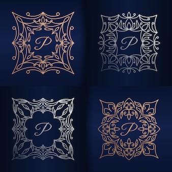 Letter p met bloemenframe logo sjabloon