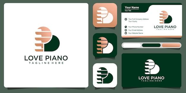 Letter p met pictogram piano met visitekaartje. logo sjabloon premium vector