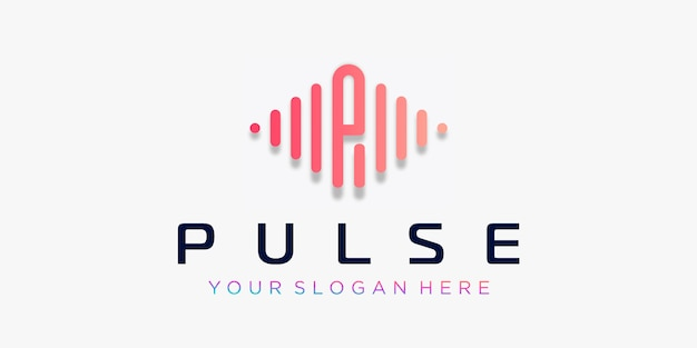 Letter p met pulse logo-ontwerp. puls element. logo sjabloon elektronische muziek, equalizer, winkel, dj-muziek, nachtclub, disco. audiogolf logo concept, multimedia-technologie thema, abstracte vorm.