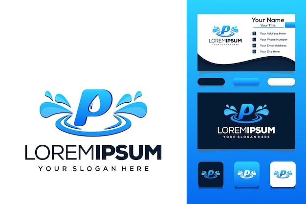 Letter p met waterdruppel logo ontwerp bus visitekaartje