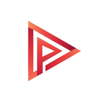 Letter p play media logo template