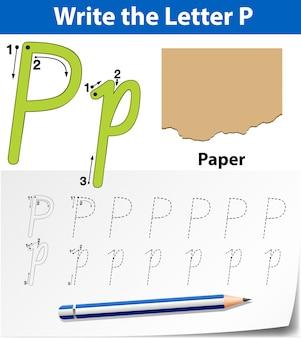 Letter p tracing alfabet werkbladen