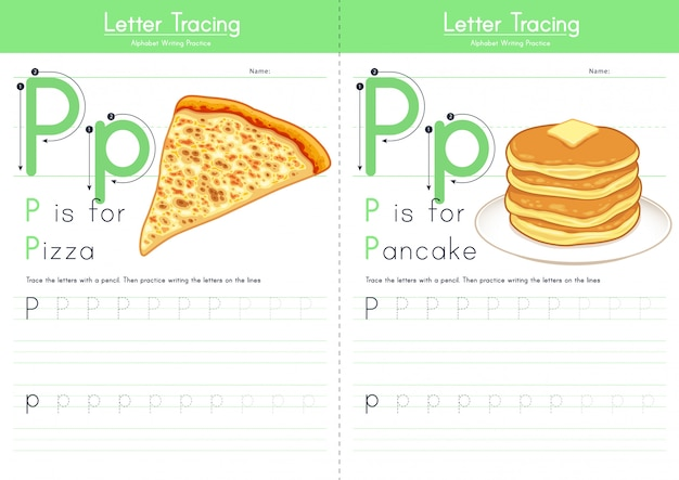 Letter p tracing food alphabet