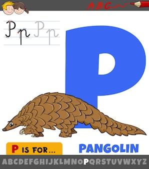 Letter p uit alfabet met dierlijk karakter van de schubdier