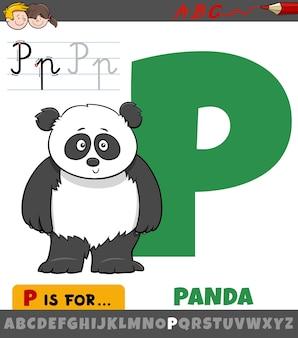 Letter p uit alfabet met panda dierlijk karakter