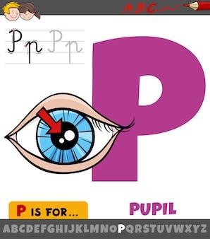 Letter p uit alfabet met pupil van het oog