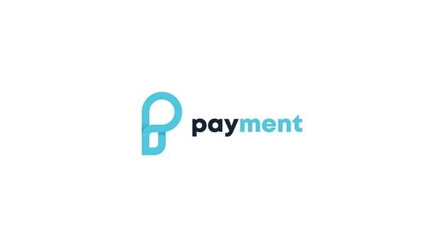 Letter p voor betaling logo concept vector