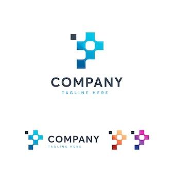 Letter p voor pixel logo-sjabloon