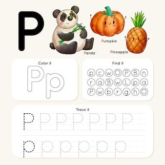 Letter p-werkblad met panda, pompoen, ananas