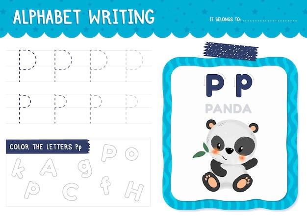 Letter p werkblad met panda