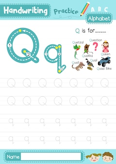Letter q hoofdletters en kleine letters oefenen werkblad