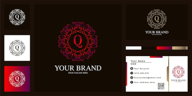 Letter q luxe sieraad bloem frame sjabloon embleemontwerp met visitekaartje.