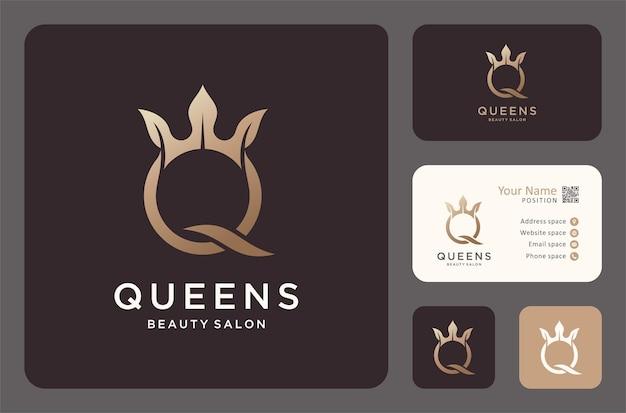 Letter q met bladkroon logo-ontwerp.