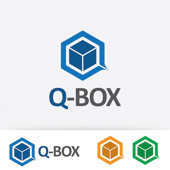 Letter q met doos logo afbeelding sjabloon.
