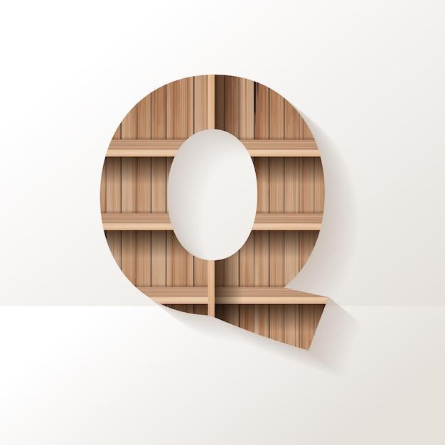 Letter q-ontwerp van houten plank