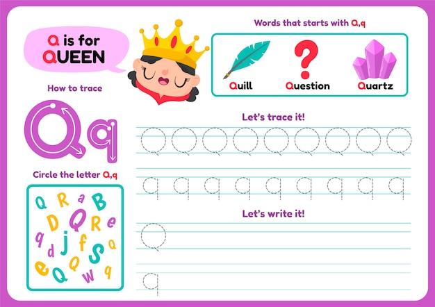 Letter q-werkblad met items en koningin