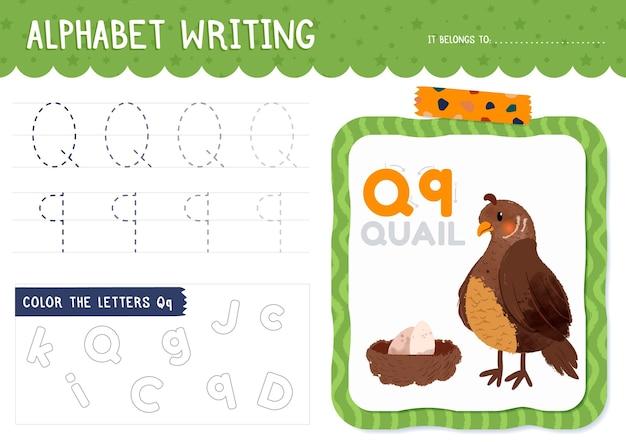 Letter q-werkblad met kwartel