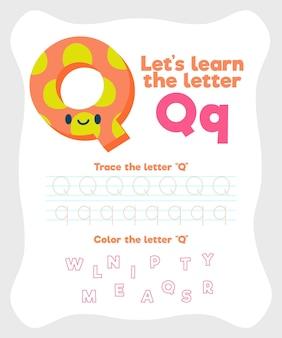 Letter q-werkbladsjabloon