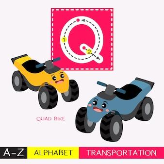 Letter q-woordenschat voor transport van hoofdletters