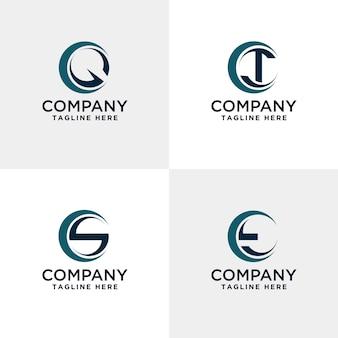 Letter qrs en t modern logo binnen de cirkel